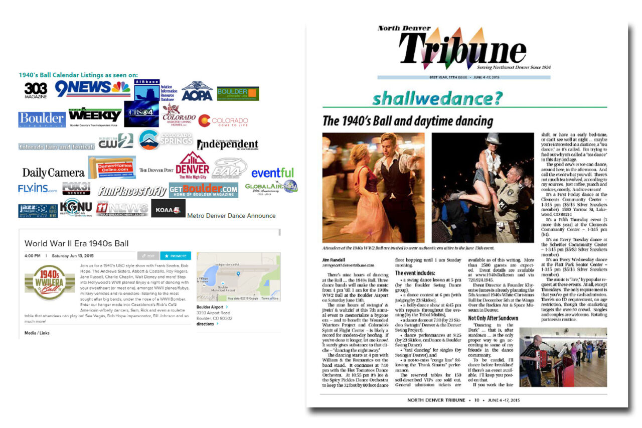 Press coverage promoting the 1940's WWII Era Ball.