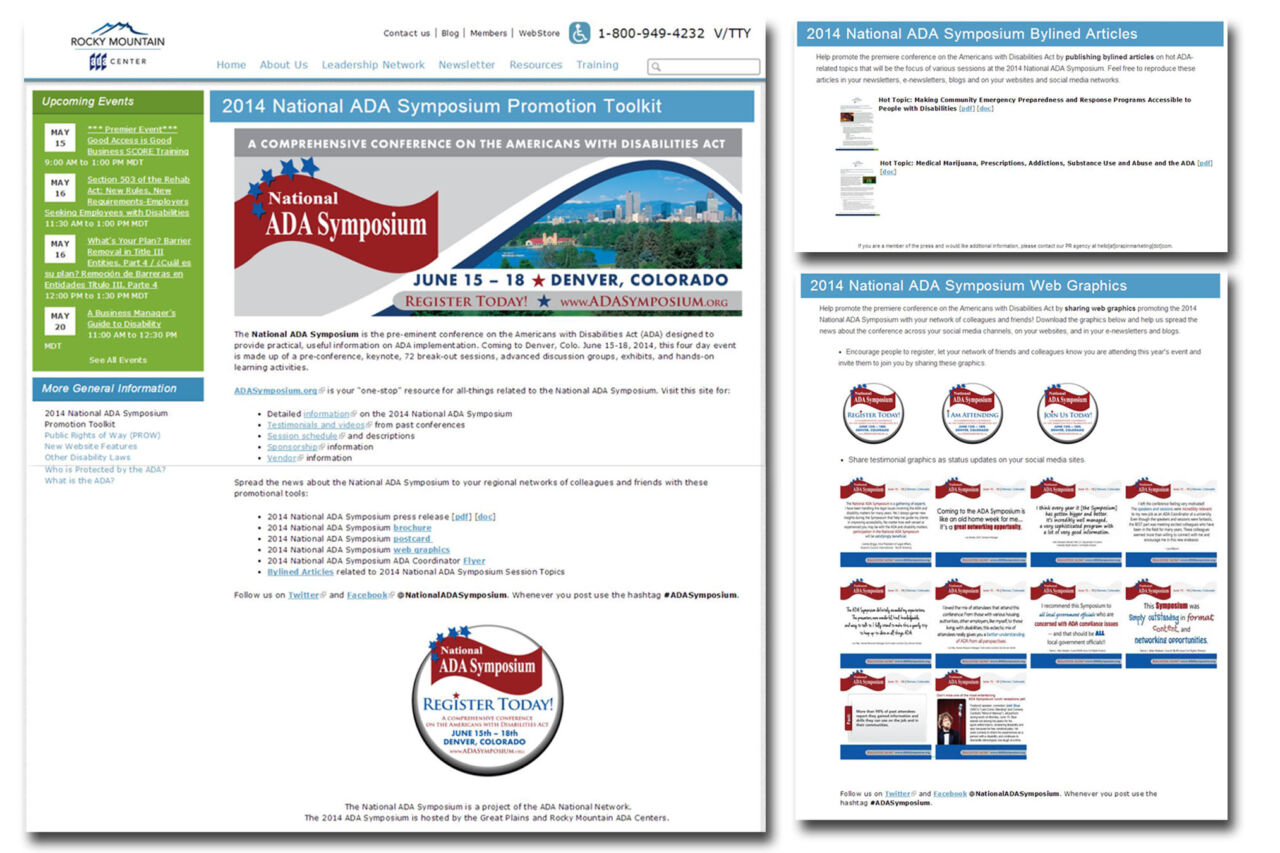 Online promotional toolkit developed for the 2014 National ADA Symposium.