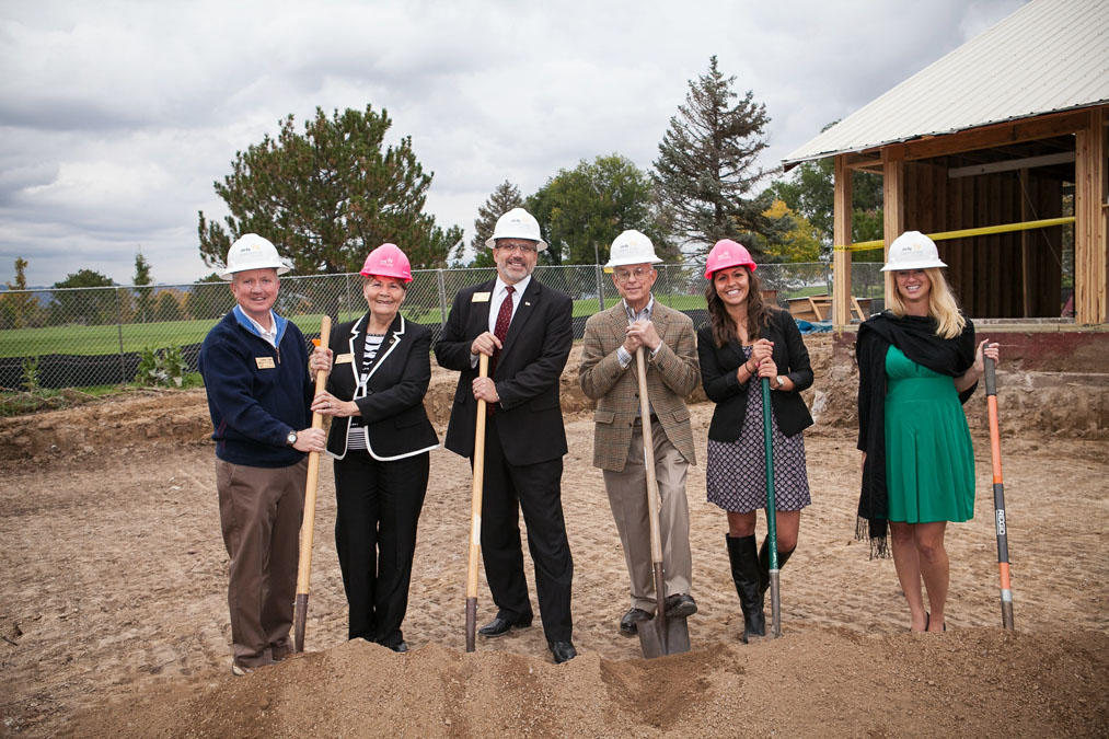 Breaking ground at The Barn at Racoon Creak were: (from left to right) Jefferson County Commissioners Casey Tighe, Faye Griffin, and Donald Rosier, The Barn at Raccoon Creek Former Family Resident Newell Grant, Sales Director Abby Nurre, and Kerri Butler with A Touch of Bliss.