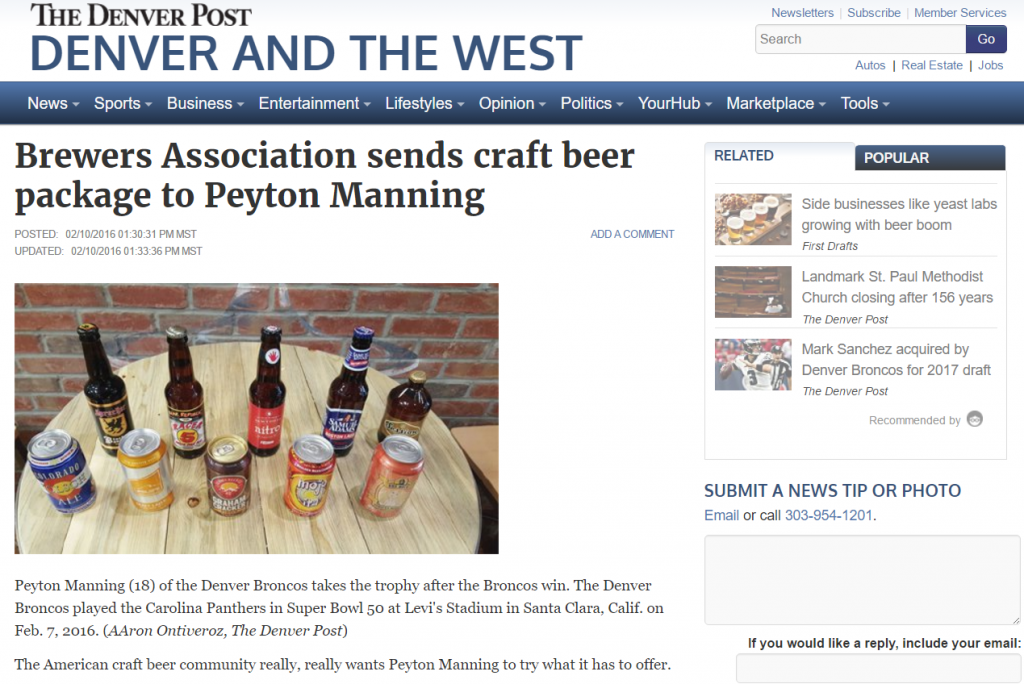 Screengrab of Denver Post coverage of Brewers Association