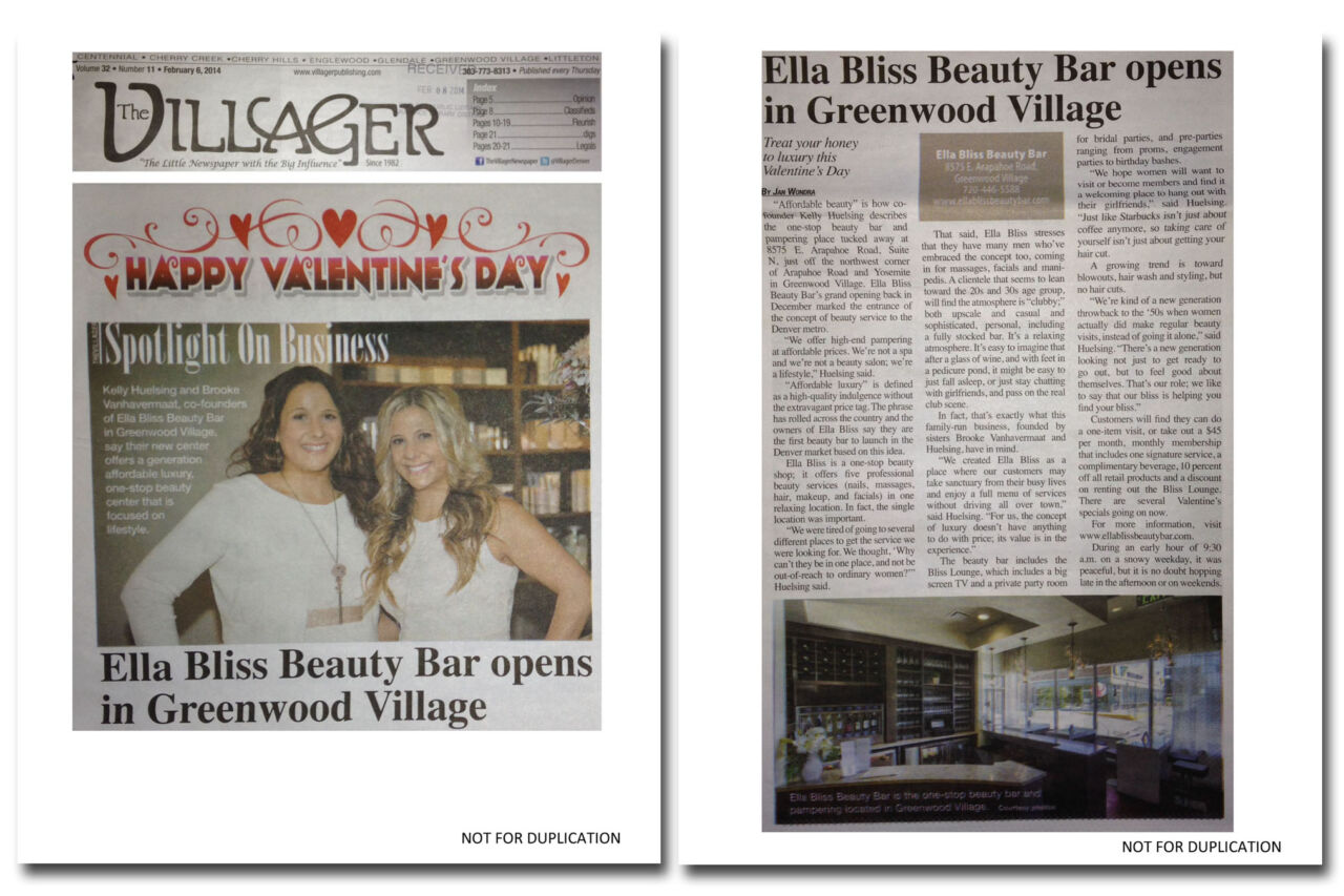 Press coverage from the grand opening publicity campaign for Ella Bliss Beauty Bar.