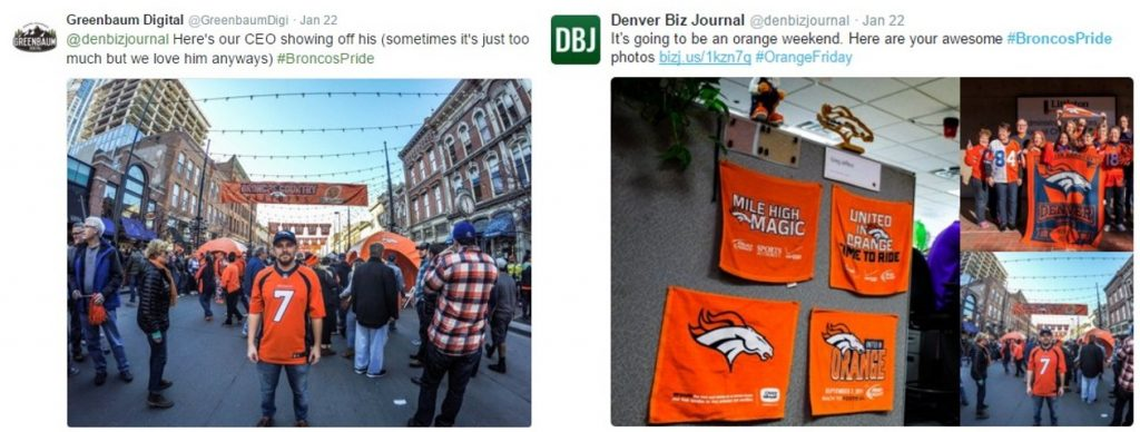 Screengrab of Twitter posts from Greenbaum Digital and Denver Business Journal