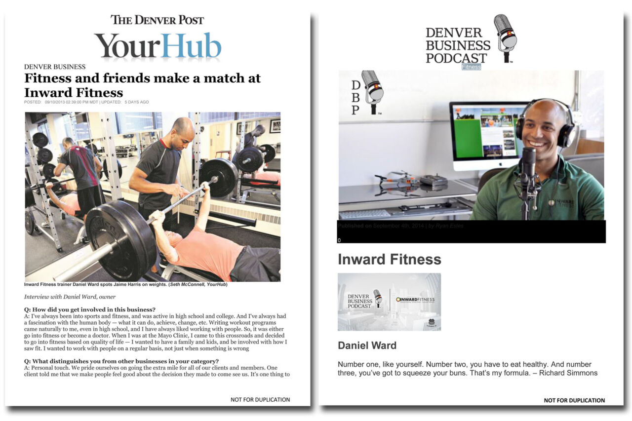 Press coverage for Inward Fitness.