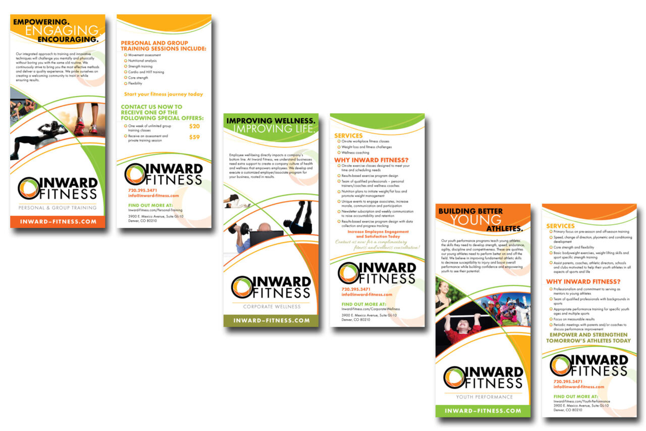 Rack card series written and designed for Inward Fitness.