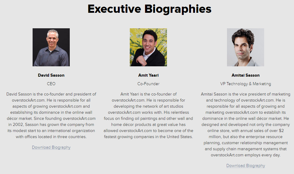 Executive Bios from overstockArt.com Media Room