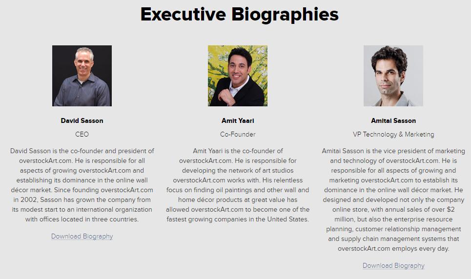 Executive Bios from overstockArt.com Media Room
