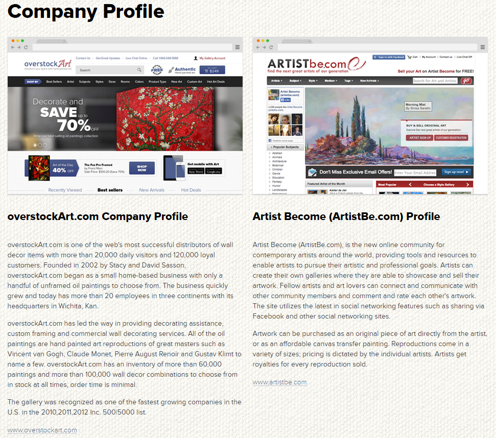 Company Profile from overstockArt.com Media Room