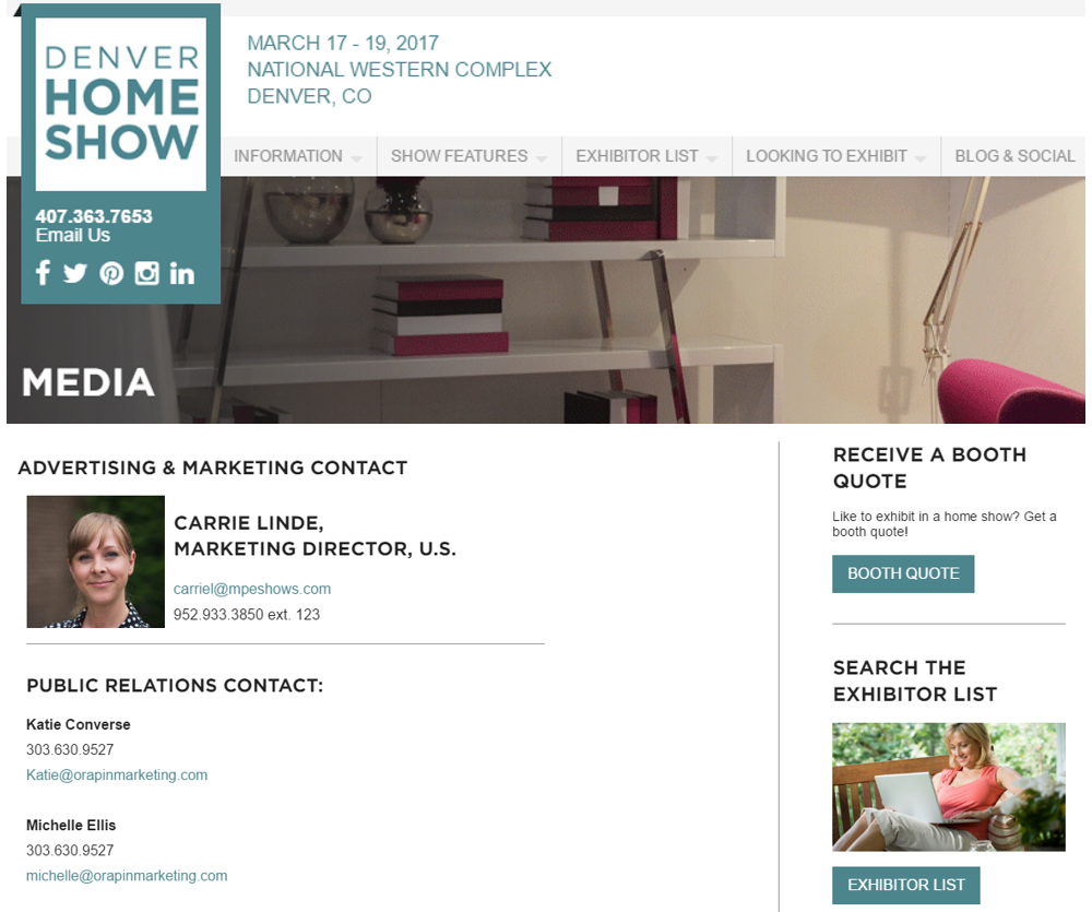 Contact Information from Denver Home Show Media Room