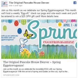Image of Original Pancake House Spring Eggstravaganza Promotion Facebook post