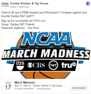 Image of Dunbar Kitchen & Tap House March Madness Facebook Image