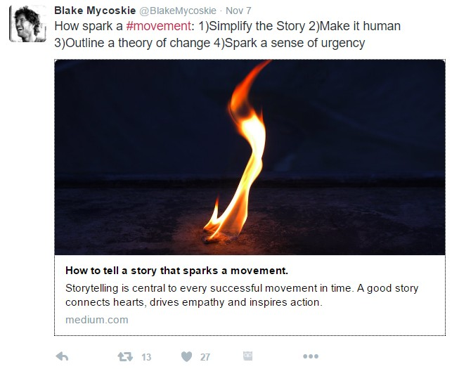 Twitter post from Blake Mycoskie