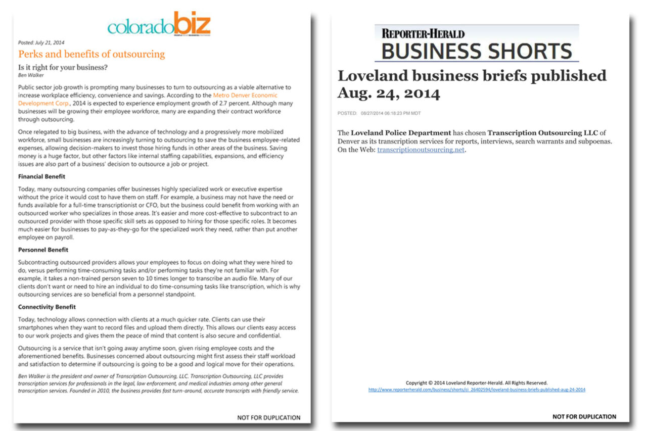 Press coverage and byline article placements secured for Transcription Outsourcing.